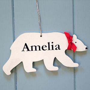Personalised Christmas Polar Bear Decoration - shop by price
