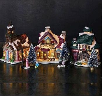 Ceramic Christmas Scene Light Decoration