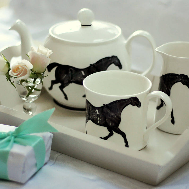 Monochrome Horse Tea Set By Katharine Pollen