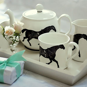 Monochrome Horse Tea Set - kitchen