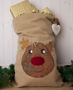 Personalised Vintage Style Rudolph Sack - stockings & sacks