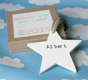 Personalised Wooden Wish Star - christening gifts