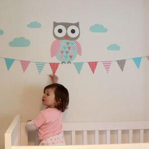 Owl And Bunting Wall Sticker Set - office & study