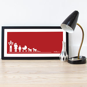 Personalised 'Family Line Up' Poster - children's room
