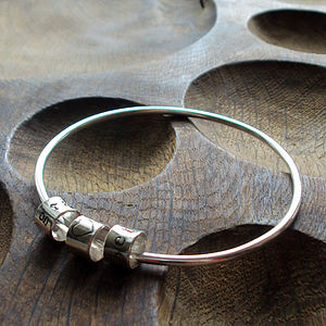 Personalised Silver Name Charm Bangle - bracelets & bangles