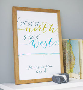 Personalised Script Style Coordinates Print - for travel-lovers