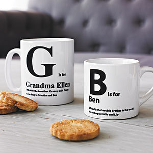 Personalised Initial Mug - gifts for grandparents