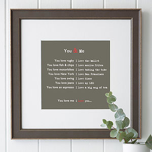 Personalised Framed 'You & Me' Print