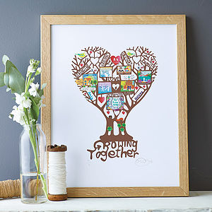 Personalised 'Growing Together' Print - 1st anniversary: paper
