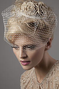 Nightingale Flower Cluster Birdcage Veil - hats, hairpieces & hair clips