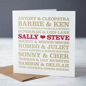 Personalised Couples Card - wedding, engagement & anniversary cards