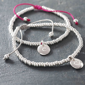Personalised Silver Bead Friendship Bracelet - birthday gifts