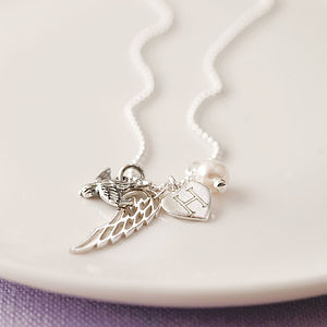 Silver Initialed Heart Bluebird Necklace - for friends