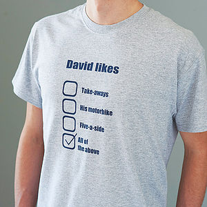 Personalised Favourite Things T Shirt