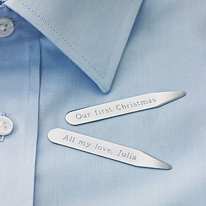 Personalised Collar Stiffeners - stocking fillers for him