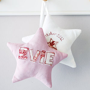 Personalised Embroidered Fabric Star - new baby keepsakes