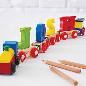 Personalised Wooden Name Train - stocking fillers under £15