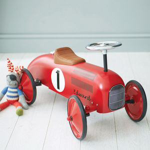 Retro Style Ride On Racing Car - personalised gifts for babies