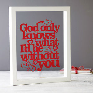 'God Only Knows' Papercut - contemporary art