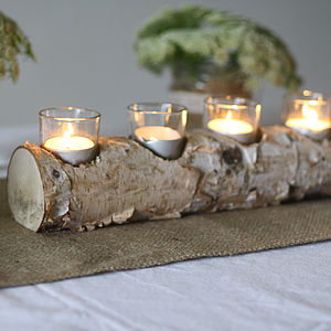 Wooden Log Tea Light Holder - christmas entertaining