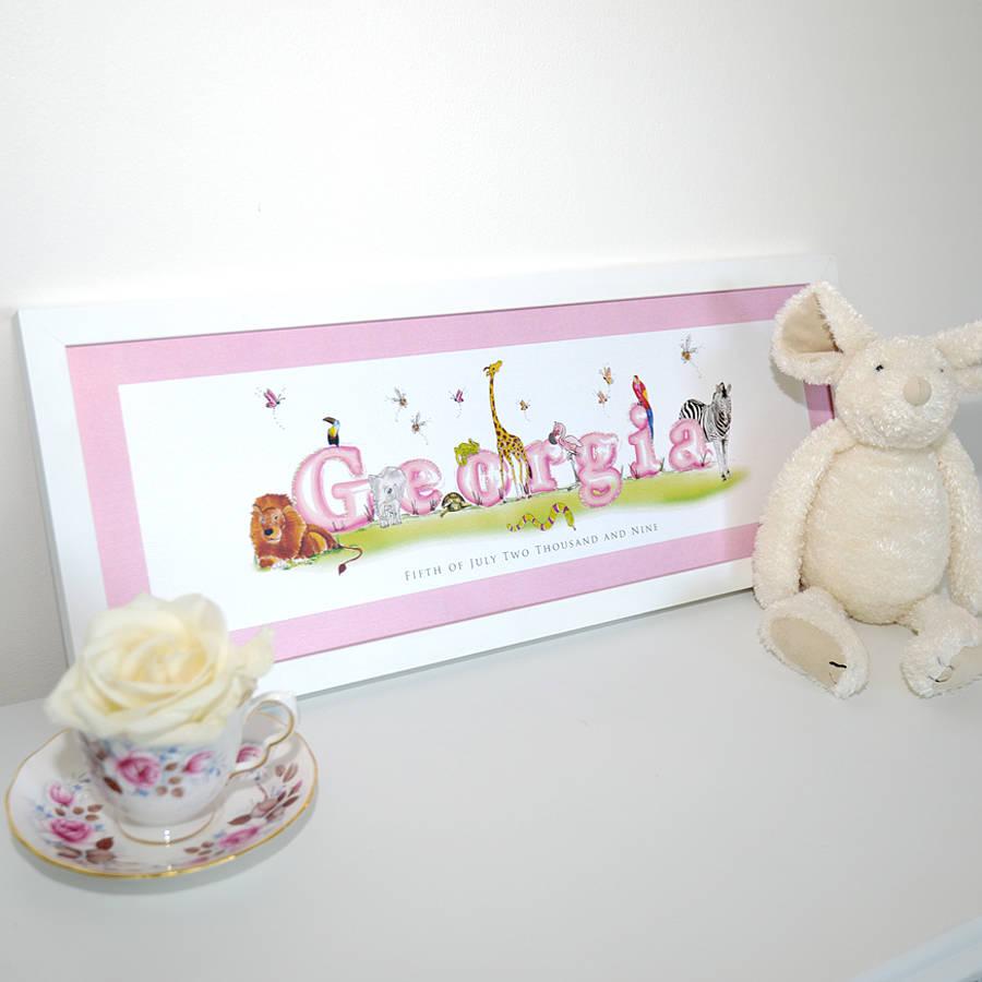 personalised animal name frame pink - Name Frames