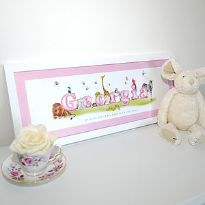 Personalised Children's Animal Name - canvas prints & art for children