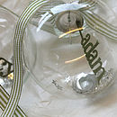 Personalised Papercut Christmas Bauble - Green Striped Ribbon