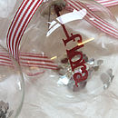 Personalised Papercut Christmas Bauble - Red Striped Ribbon