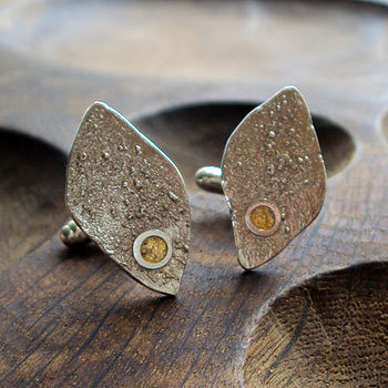 Silver And Gold Leaf Cufflinks