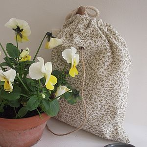 Hand Printed Floral String Bag
