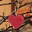Set Of 10 Red Wooden Hearts
