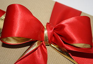 Christmas Gold Metallic And Red Satin Ribbon - christmas ribbon