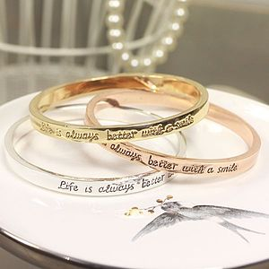 'Better With A Smile' Word Bangle - women's jewellery