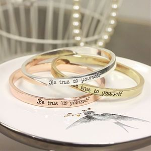 'Be True To Yourself' Word Bangle - bracelets & bangles