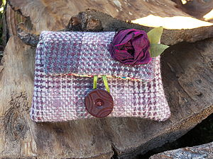 Berry Tweed Flower Purse
