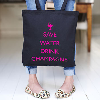'Save Water Drink Champagne ' Tote Bag Pink