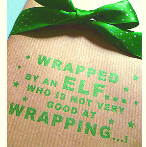 Clumsy Elf! Handmade Christmas Wrapping Paper - ribbon & wrap