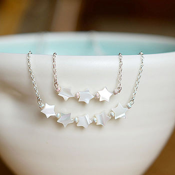 Silver & Mother Of Pearl Star Necklace