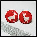 Deer Fabric Covered Earrings
