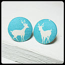 Deer Fabric Covered Earrings