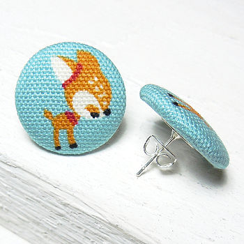 Deer Fabric Button Earrings