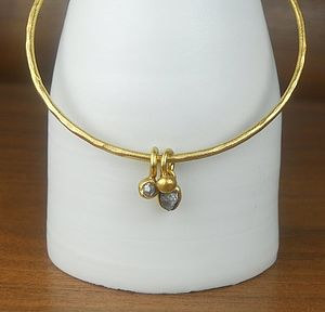 Rough And Faceted Diamond Bangle - bracelets & bangles
