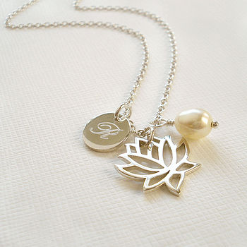 Personalised Silver Lotus Flower Necklace