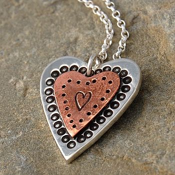 Handmade Copper And Silver Heart Necklace