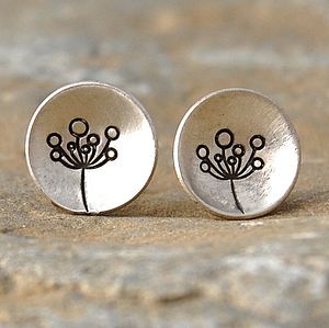 Handmade Silver Allium Studs - women's jewellery