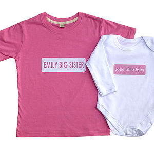 Personalised T Shirt And Baby Grow Gift Set - clothing