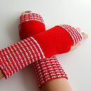 Striped Rib Fingerless Gloves