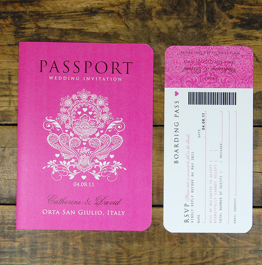Passport to love booklet travel wedding invitation by ditsy chic passport to love with boarding pass rsvp card stopboris
