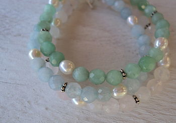 Agate and Rose Quartz Silver Toggle Bracelets