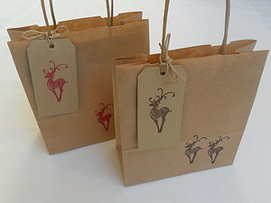 Christmas Reindeer Gift Bag And Tag - ribbon & wrap